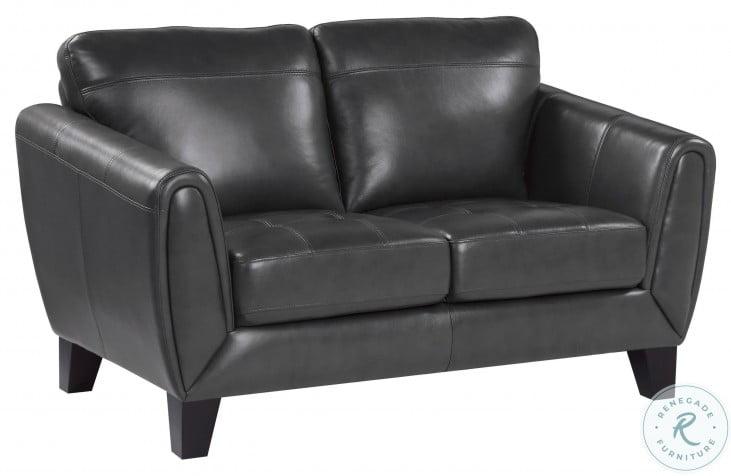 Spivey Dark Gray Leather Loveseat