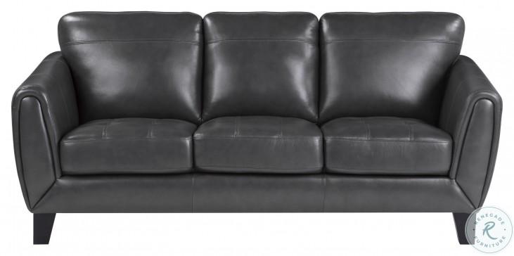 Spivey Dark Gray Leather Sofa