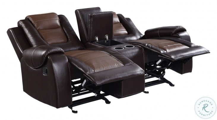 Briscoe Light And Dark Brown Double Glider Reclining Console Loveseat