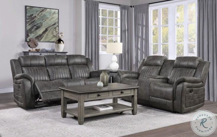 Centeroak Gray Double Reclining Living Room Set