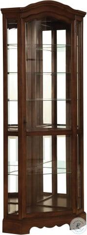 950175 Burnished Brown Corner Curio Cabinet