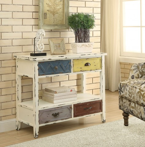 4 Drawer Antique White Accent Cabinet