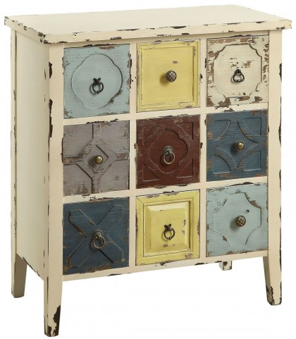 9 Drawer Antique White Accent Cabinet