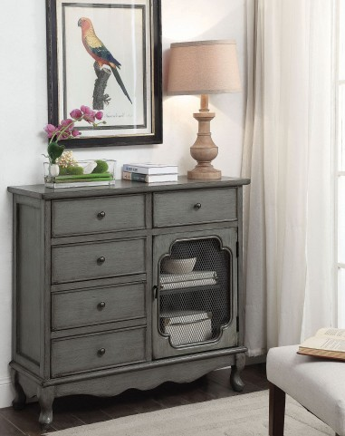 Distress Grey Accent Cabinet