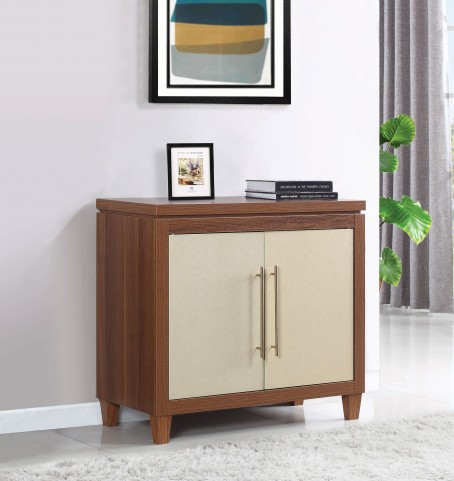 Walnut and Gold Accent Cabinet