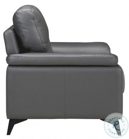 Mischa Dark Gray Leather Living Room Set