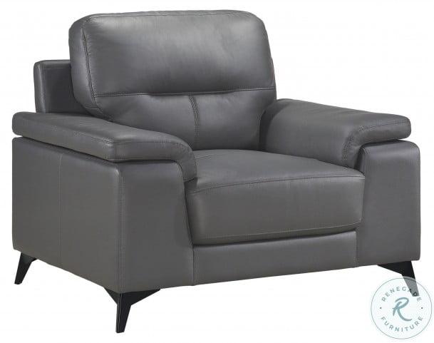 Mischa Dark Gray Leather Chair