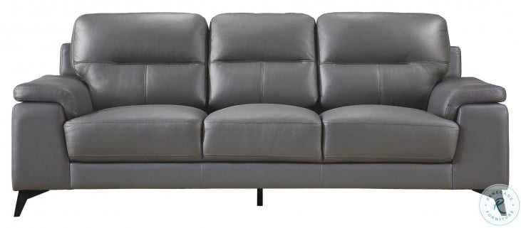 Mischa Dark Gray Leather Sofa