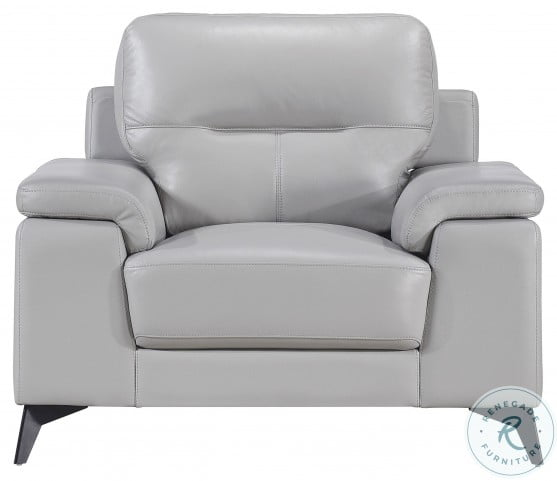 Mischa Silver Gray Leather Chair