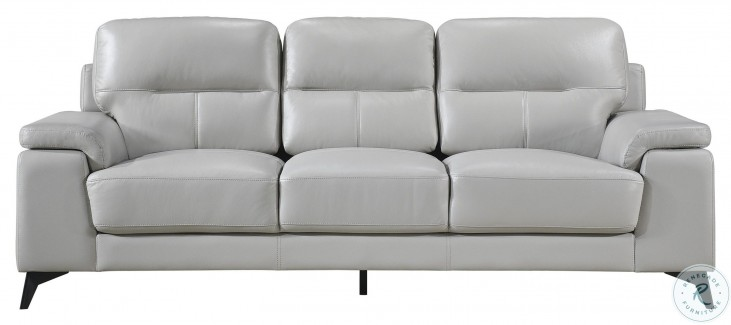 Mischa Silver Gray Leather Sofa