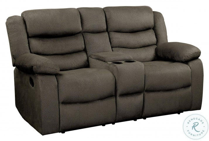 Discus Brown Double Reclining Loveseat With Console