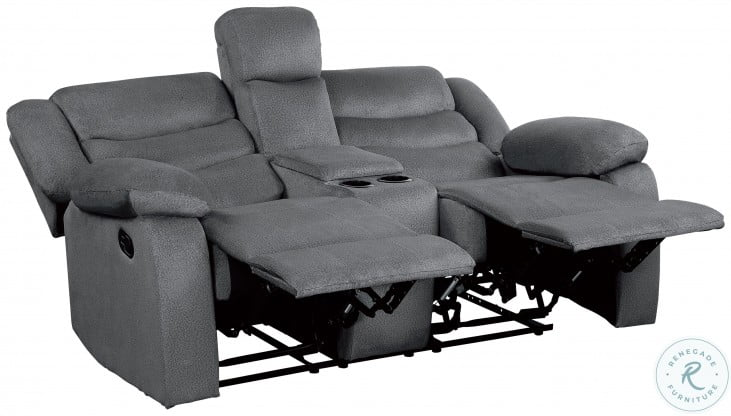 Discus Gray Double Reclining Loveseat With Console
