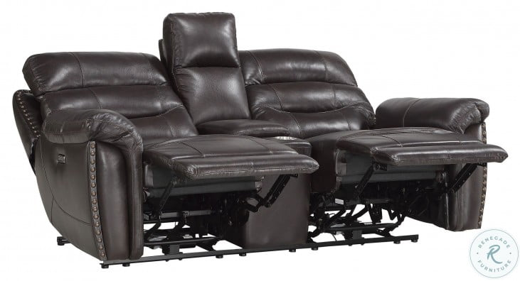 Lance Brown Leather Power Double Reclining Console Loveseat With Power Headrests