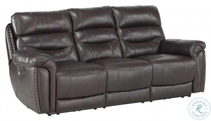 Lance Brown Leather Power Double Reclining Sofa With Power Headrests