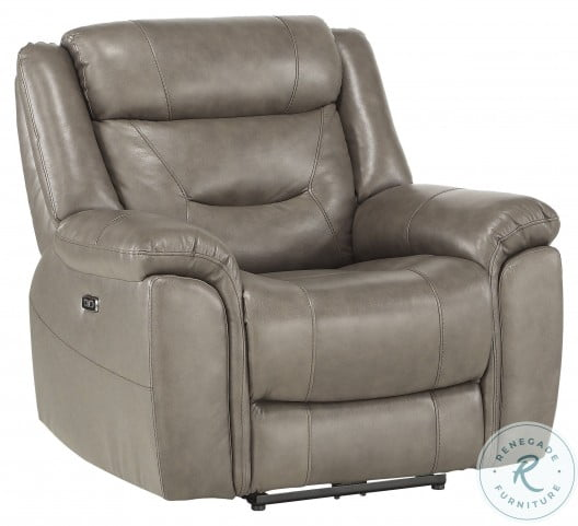Danio Brownish Gray Leather Kennett Power Reclining Chair With Power Headrest