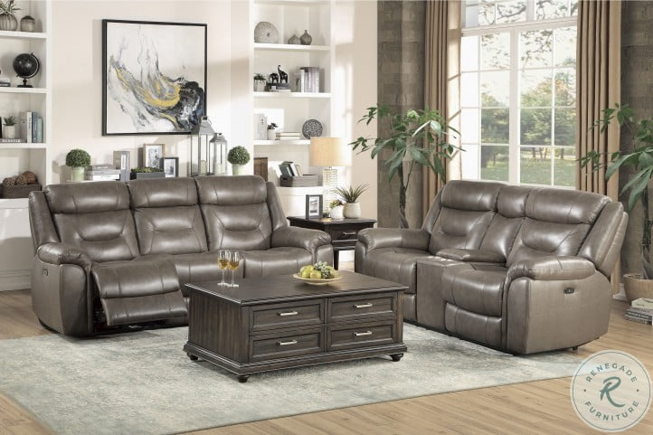 Danio Brownish Gray Kennett Power Double Reclining Sofa With Power Headrests