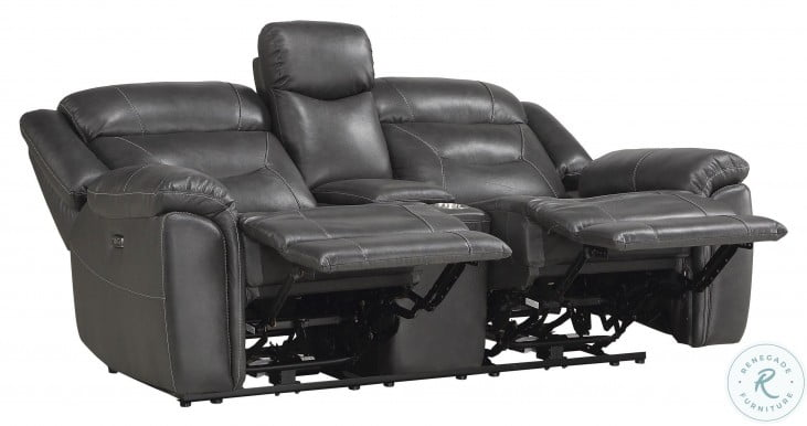 Danio Dark Gray Leather Kennett Power Double Reclining Loveseat With Console And Power Headrest