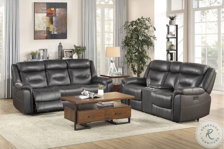 Danio Dark Gray Kennett Power Double Reclining Power Headrest Living Room Set