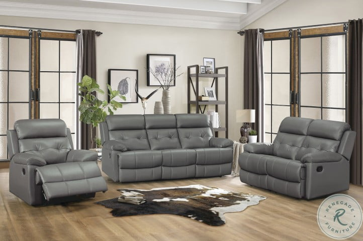 Lambent Dark Gray Leather Double Reclining Living Room Set