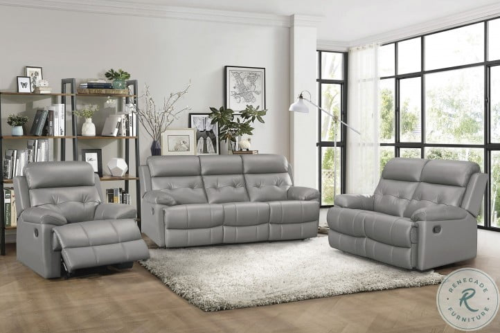 Lambent Gray Leather Double Reclining Living Room Set