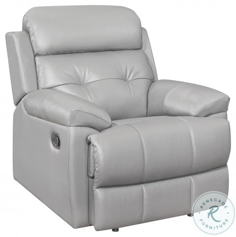 Lambent Silver Gray Leather Reclining Chair