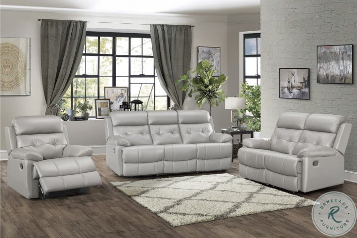 Lambent Silver Gray Leather Double Reclining Living Room Set