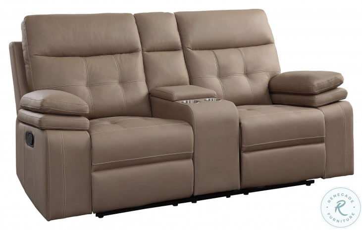 Millington Brown Double Reclining Console Loveseat
