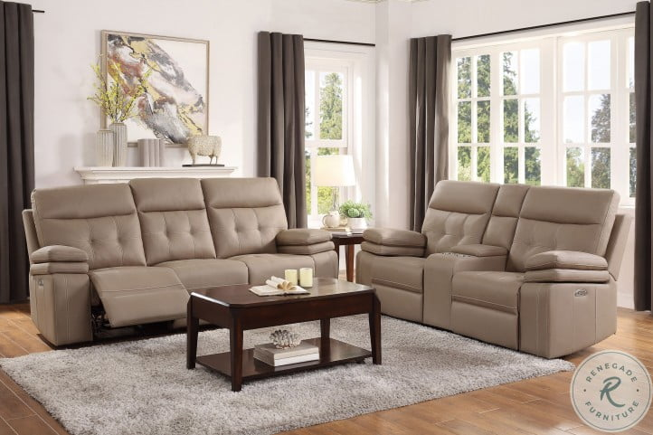 Millington Brown Power Double Reclining Console Loveseat With Power Headrests