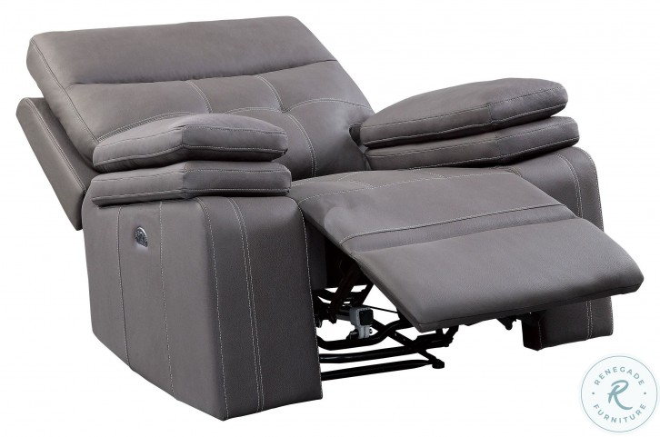 Millington Gray Power Recliner With Power Headrest