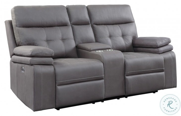Millington Gray Power Double Reclining Console Loveseat With Power Headrests