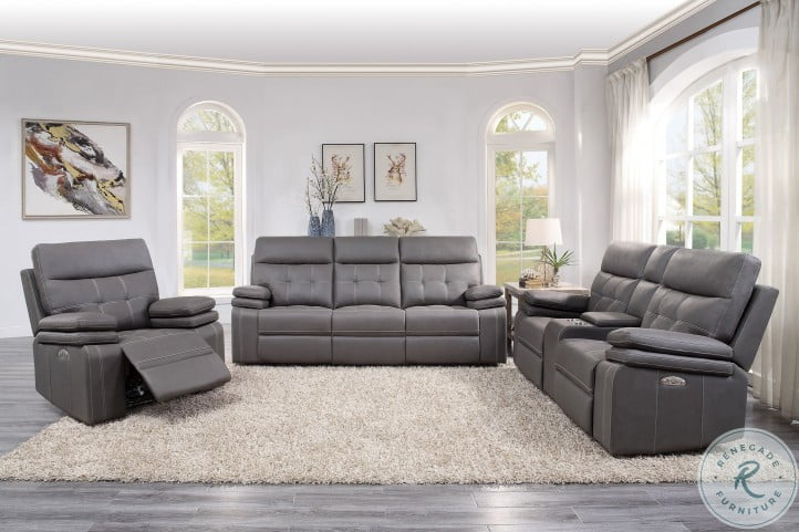 Millington Gray Power Double Reclining Living Room Set With Power Headrests