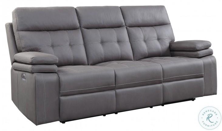 Millington Gray Power Double Reclining Sofa With Power Headrests