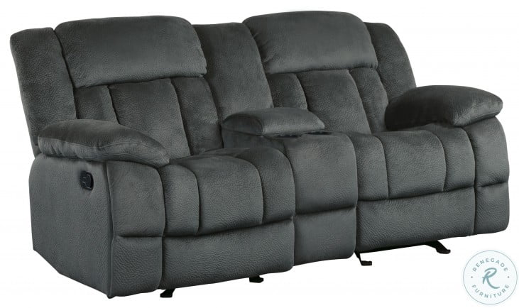 Laurelton Charcoal Double Glider Reclining Console Loveseat