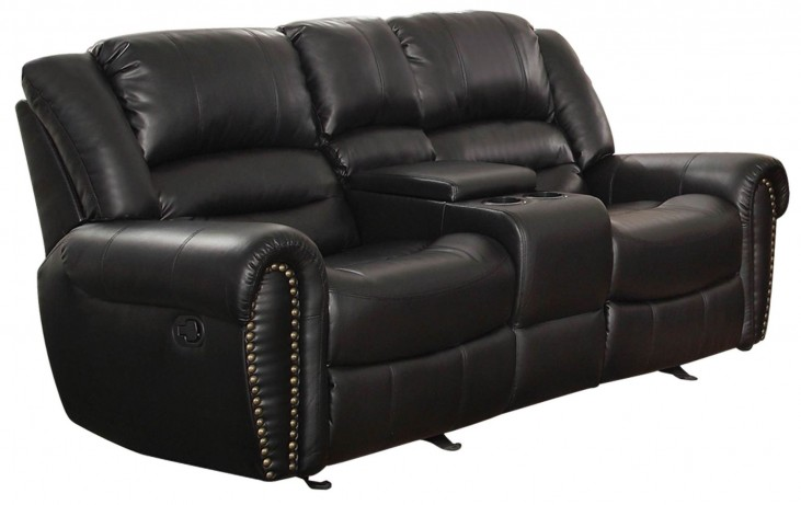 Center Hill Black Double Glider Reclining Loveseat With Console