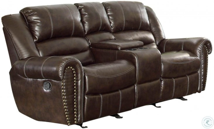 Strange Center Hill Brown Double Glider Reclining Loveseat With Console Uwap Interior Chair Design Uwaporg