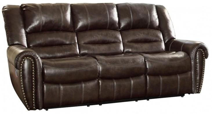 Center Hill Dark Brown Power Double Reclining Sofa