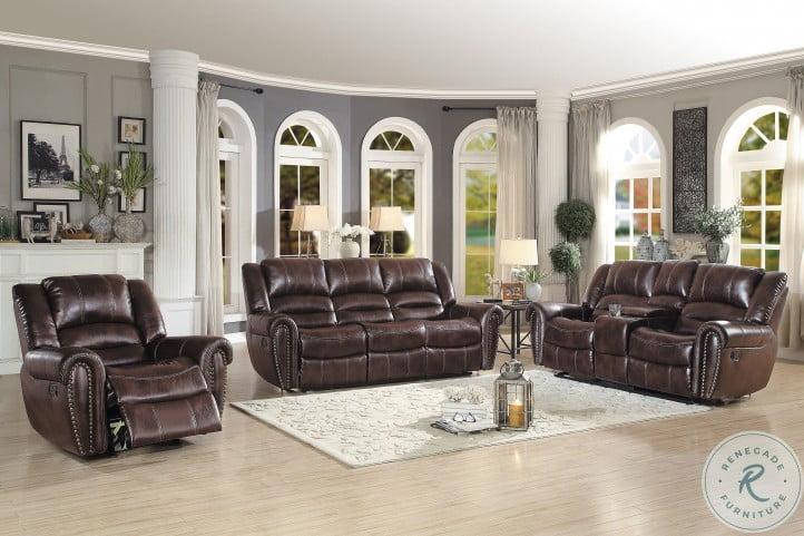 Center Hill Dark Brown Double Reclining Living Room Set