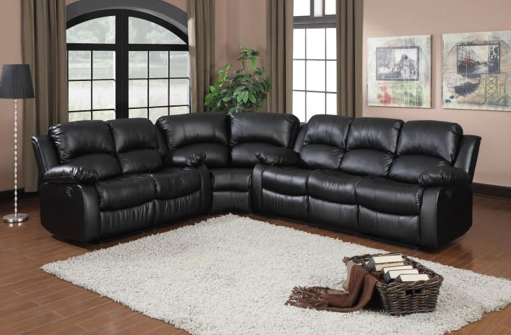 Cranley Black Power Double Reclining Sectional