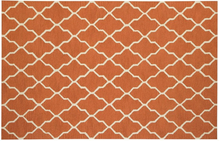 Orange and White Danberry Small Rug