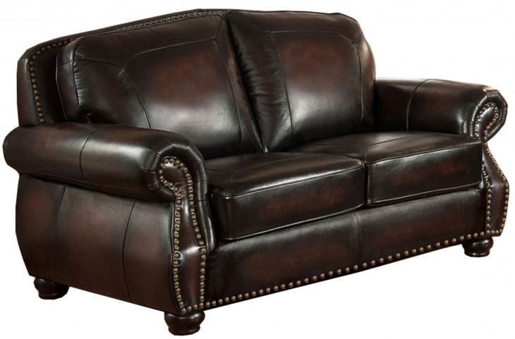 Hyde Brown Leather Loveseat