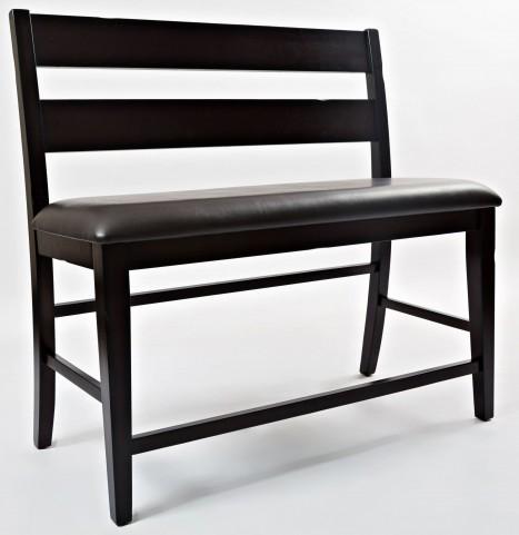 Dark Rustic Prairie Counter Height Bench