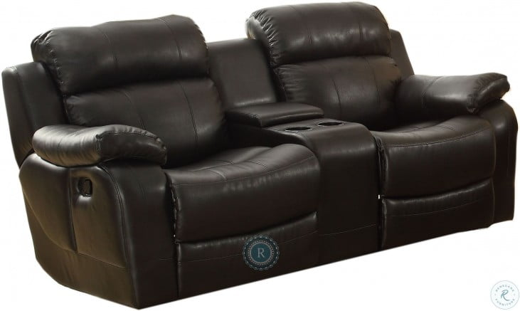 Super Marille Black Double Glider Reclining Loveseat With Center Console Pabps2019 Chair Design Images Pabps2019Com