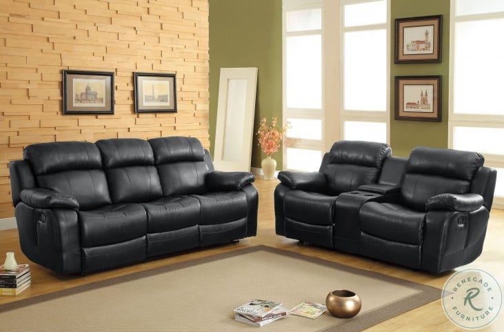 Marille Black Double Reclining Living Room Set with Center Drop-Down Cup Holders