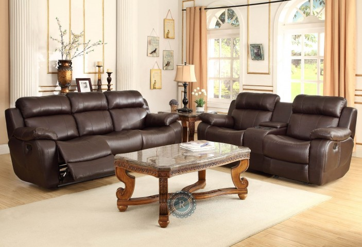 Marille Dark Brown Reclining Living Room Set
