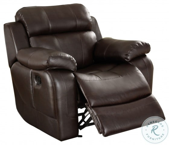 Marille Dark Brown Double Reclining Living Room Set with Center Drop-Down