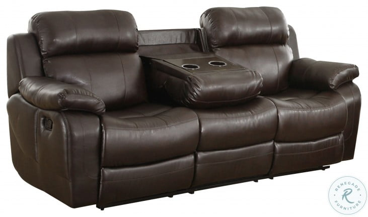 Marille Dark Brown Double Reclining Sofa with Center Drop-Down