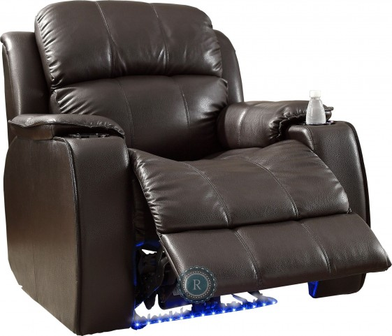 Jimmy Brown Power Reclining Chair with Massage, LED & Cup Cooler
