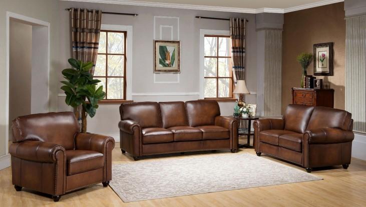 Royale Camel Brown Leather Living Room Set