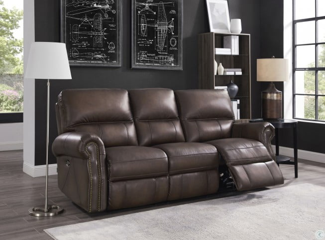 Wondrous Raymond Concord Walnut Leather Power Reclining Sofa Ocoug Best Dining Table And Chair Ideas Images Ocougorg