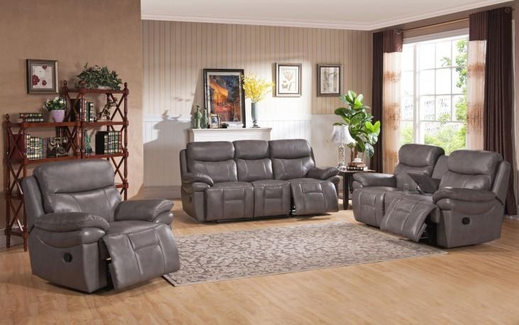 Summerlands Smoke Grey Leather Reclining Living Room Set